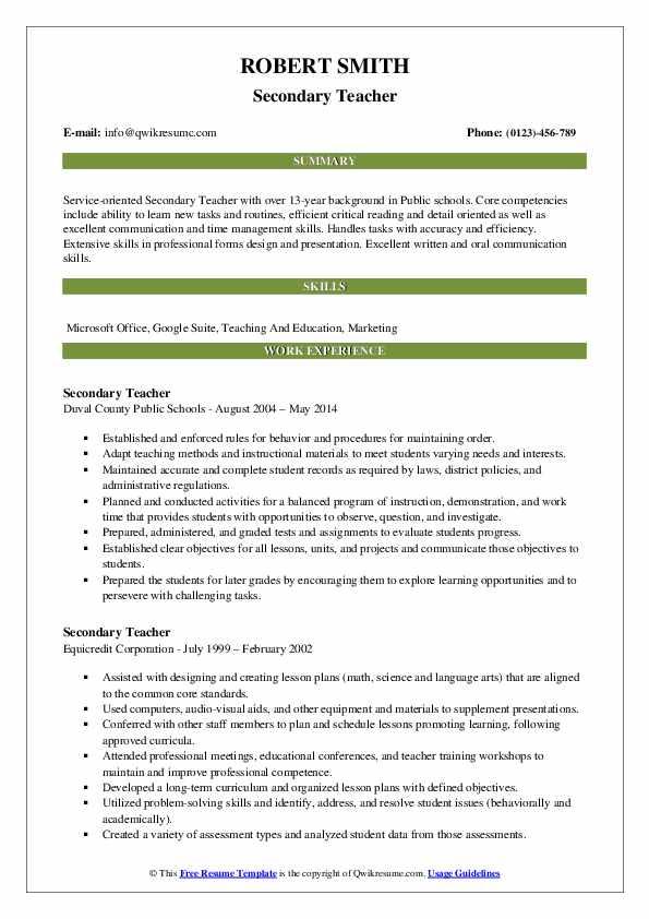 Secondary Teacher Resume Model