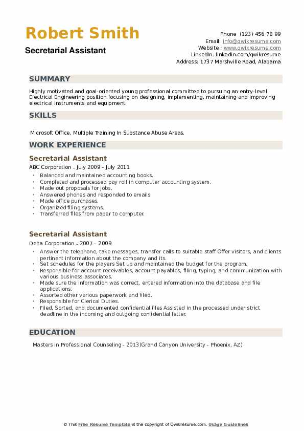 Secretarial Assistant Resume example