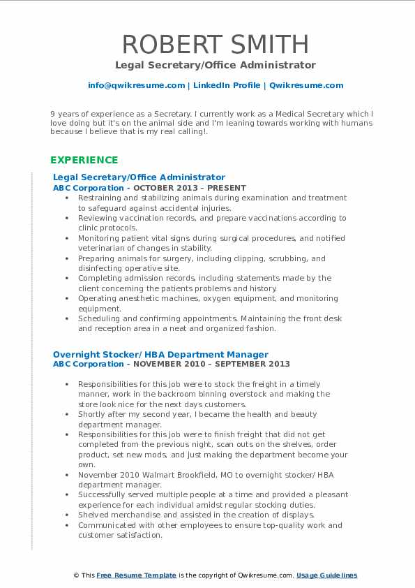 Legal Secretary/Office Administrator Resume Sample