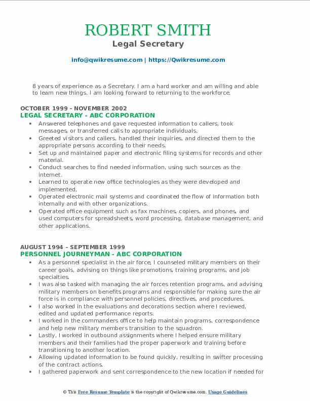 Legal Secretary Resume Format
