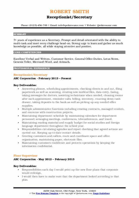 Receptionist/Secretary Resume Example