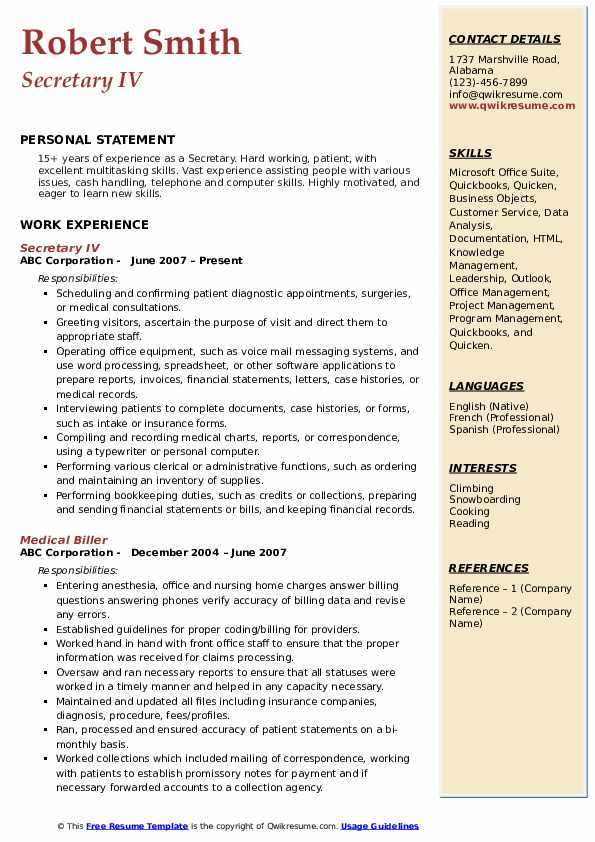 Secretary IV Resume Model