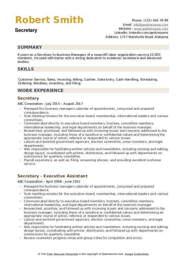 Secretary Resume example