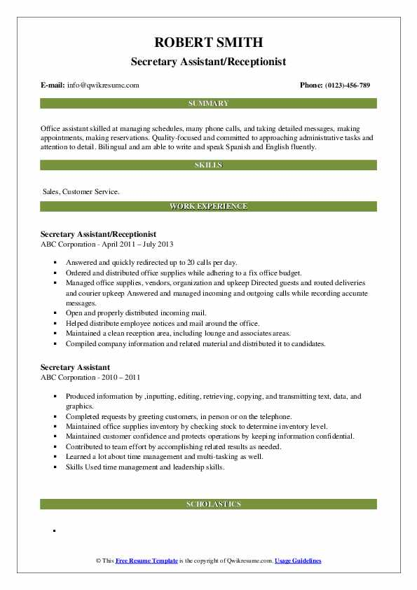 Secretary Assistant/Receptionist Resume Sample
