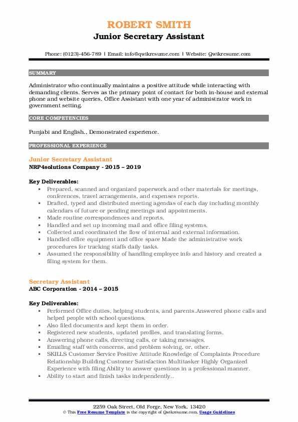 Junior Secretary Assistant Resume Example