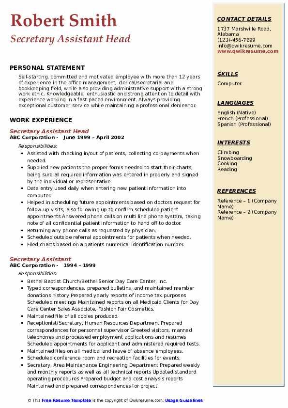 Secretary Assistant Head Resume Sample