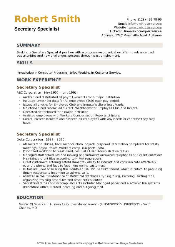 Secretary Specialist Resume example
