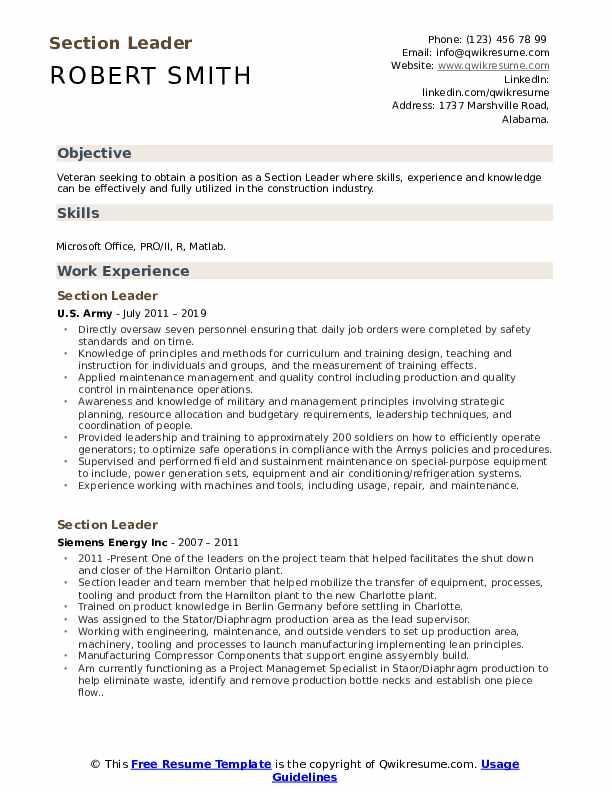 Section Leader Resume Format