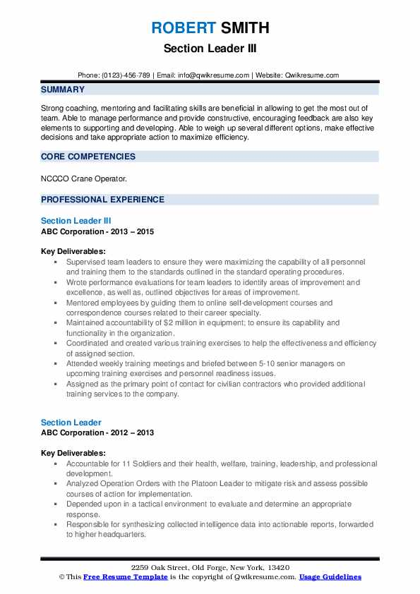 Section Leader III Resume Template