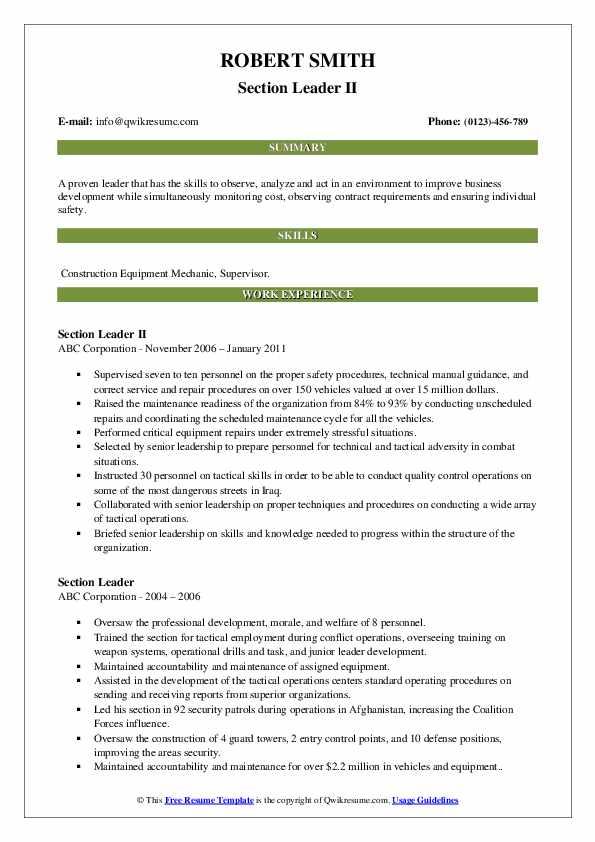 Section Leader II Resume Model
