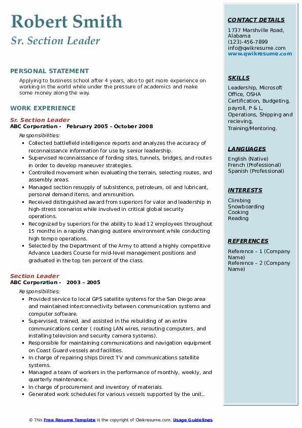 Sr. Section Leader Resume Format
