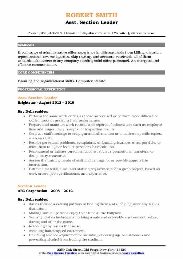 Asst. Section Leader Resume Model