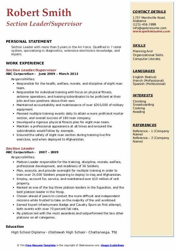 Section Leader/Supervisor Resume Format
