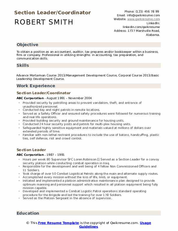 Section Leader/Coordinator Resume Example