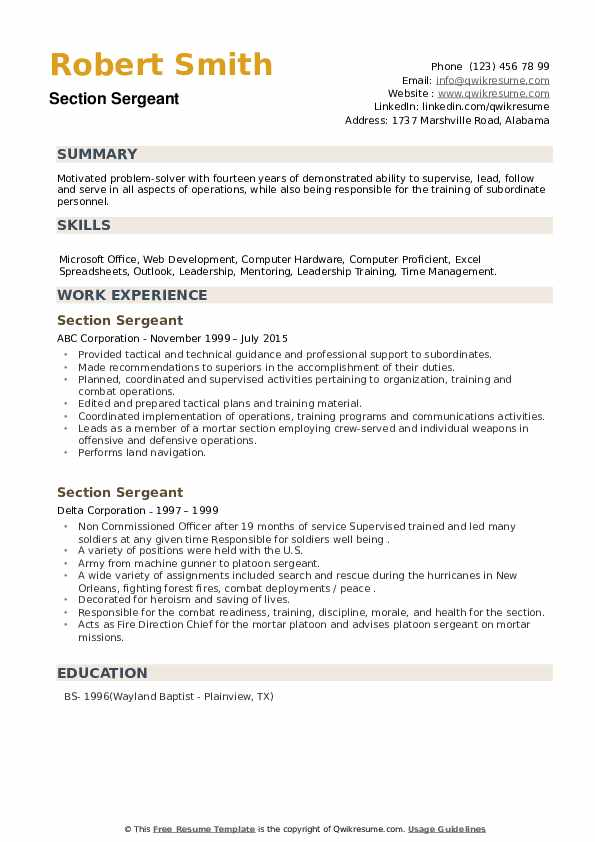 Section Sergeant Resume example