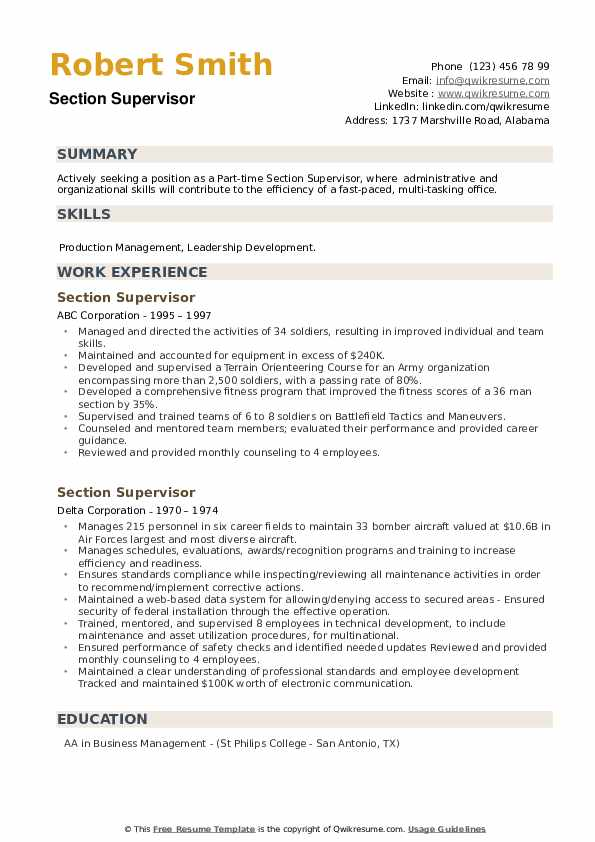 Section Supervisor Resume example