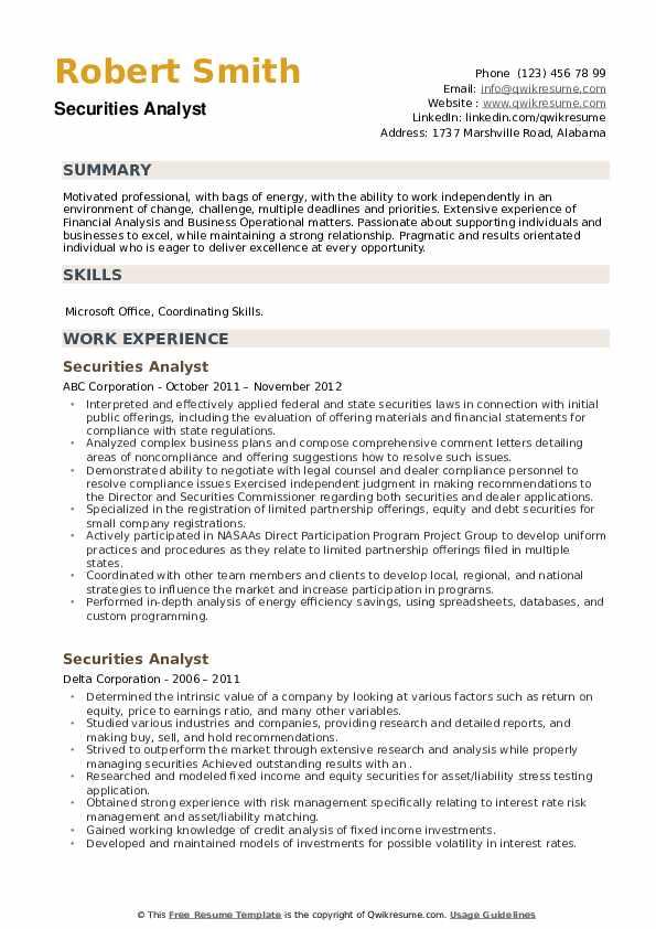 Securities Analyst Resume example