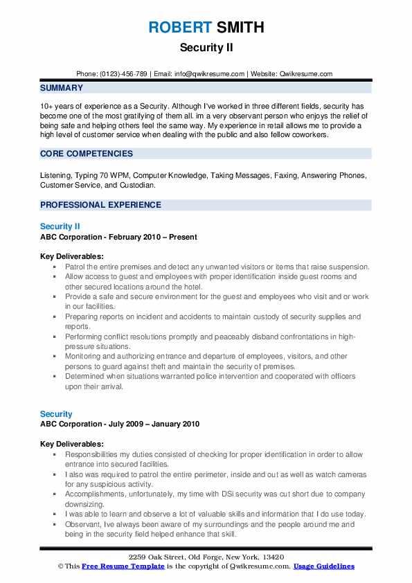 Security II Resume Model