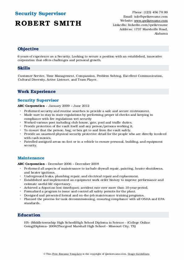 Security Supervisor Resume Model