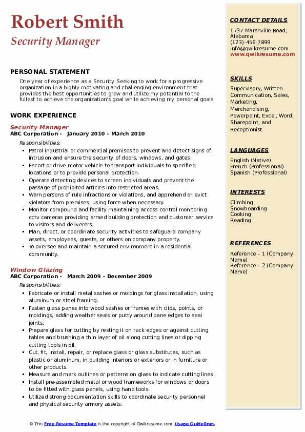 Security Manager Resume Model