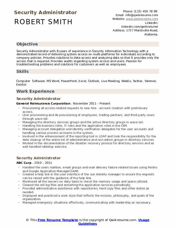 Security Administrator Resume Sample