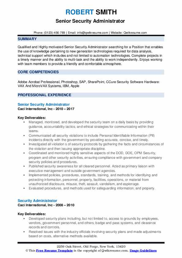 Senior Security Administrator  Resume Template