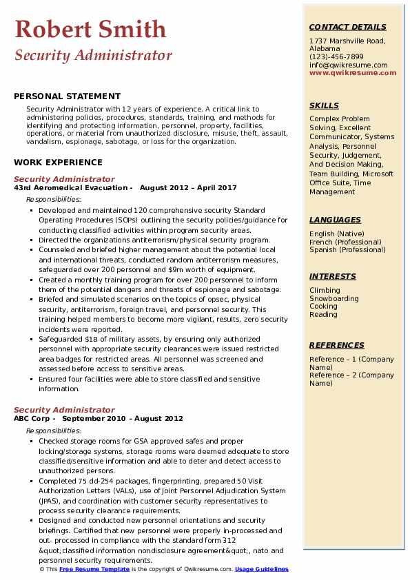 Security Administrator Resume example