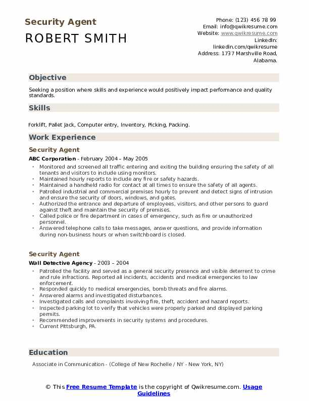 Security Agent Resume Format