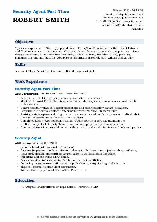 Security Agent-Part Time Resume Example