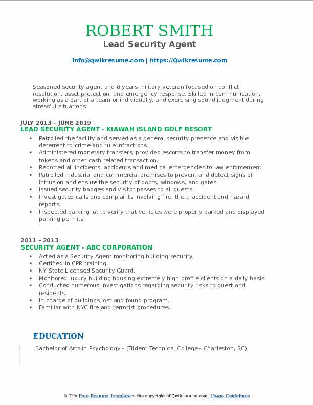 Lead Security Agent Resume Format