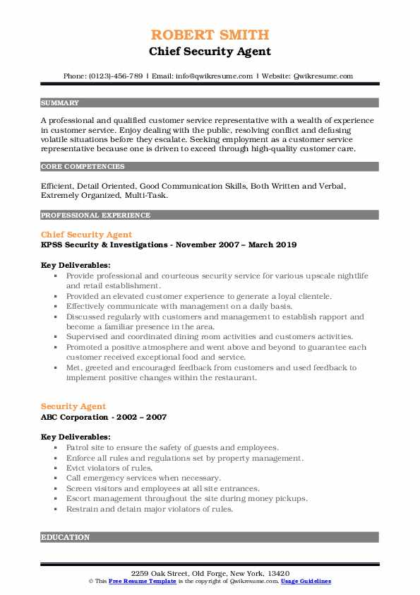 Chief Security Agent Resume Sample