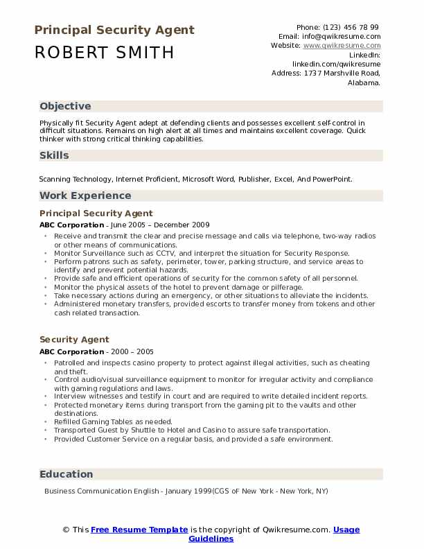 Principal Security Agent Resume Example