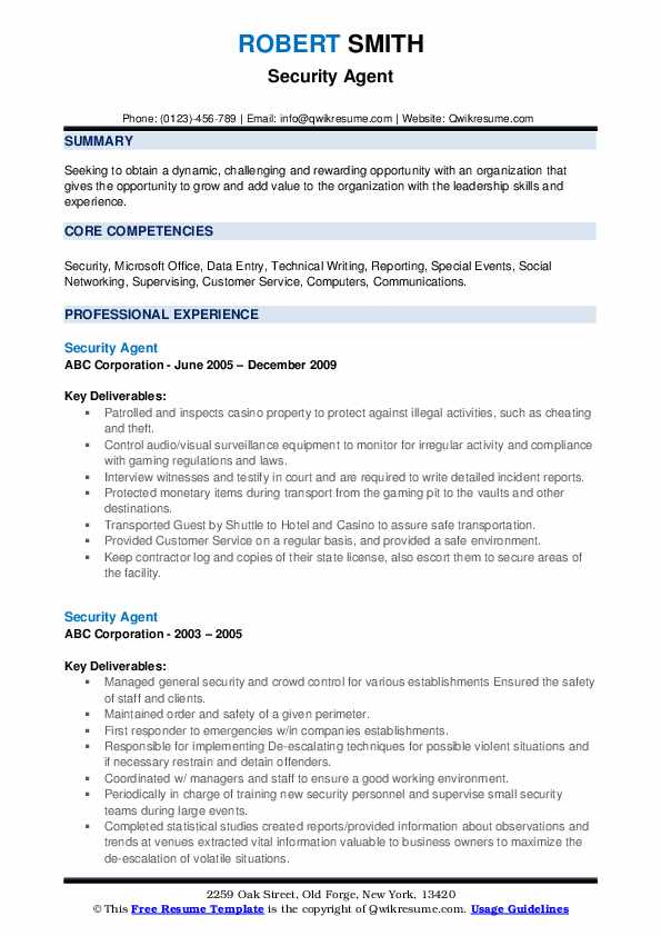 Security Agent Resume example