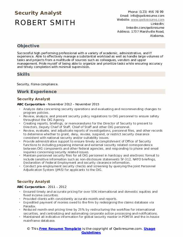 Security Analyst Resume Model