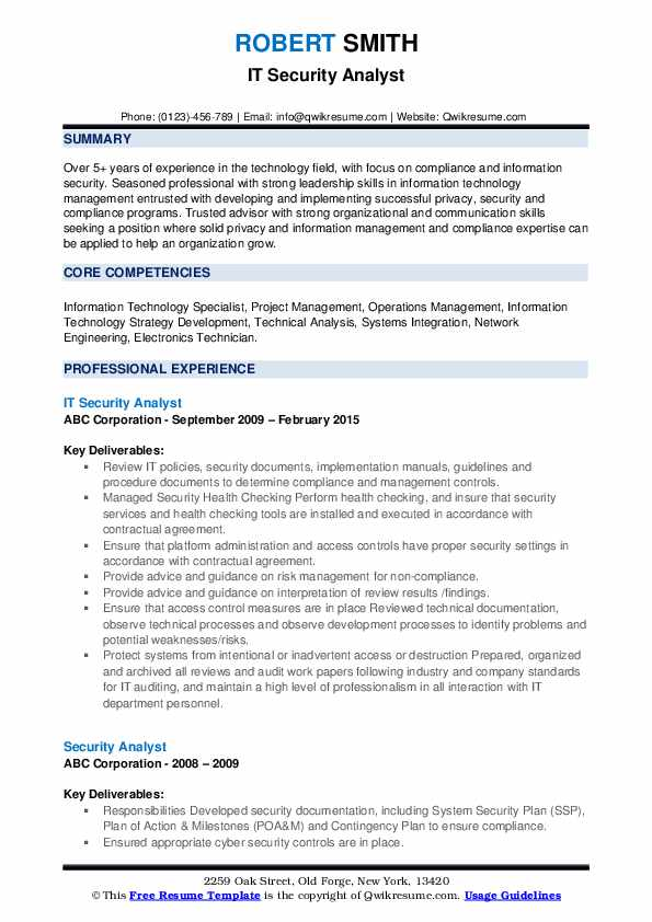 IT Security Analyst Resume Example
