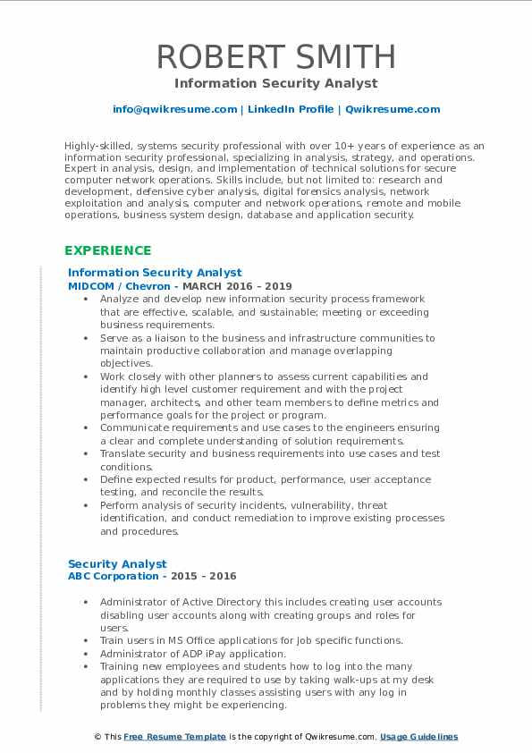 Information Security Analyst Resume Format