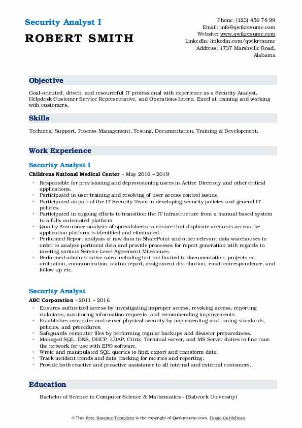 Security Analyst I Resume Sample