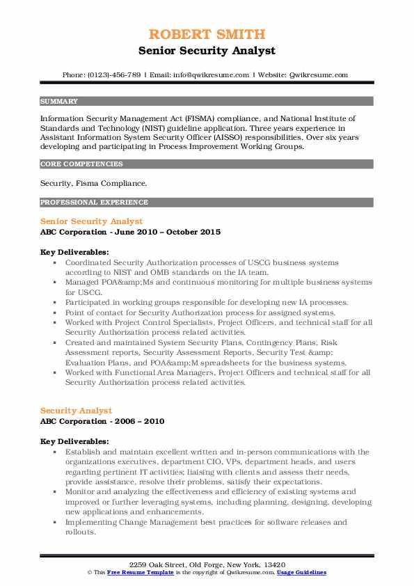 Senior Security Analyst Resume Sample