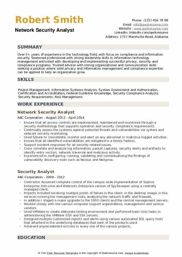 Network Security Analyst Resume Template