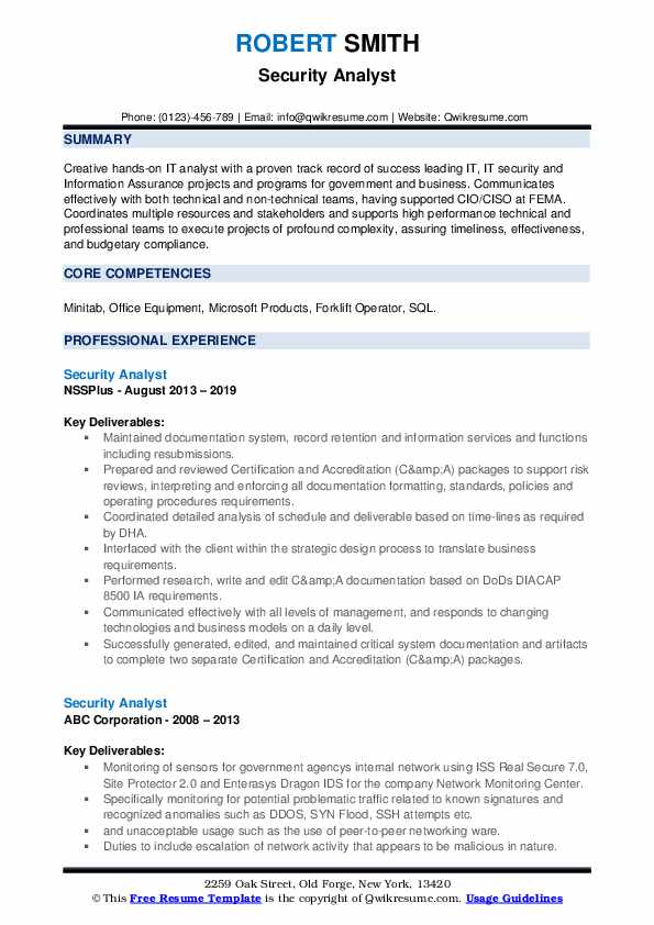 Security Analyst Resume example