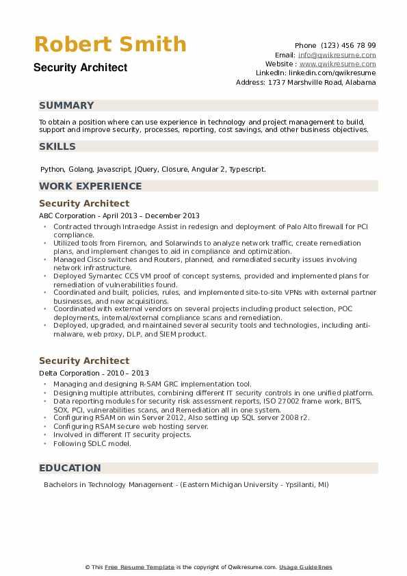 Security Architect Resume example