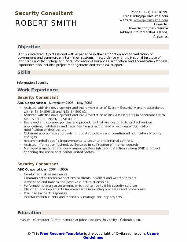 Security Consultant Resume Model