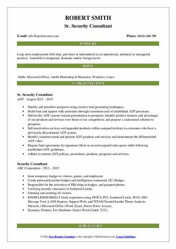 Sr. Security Consultant Resume Format