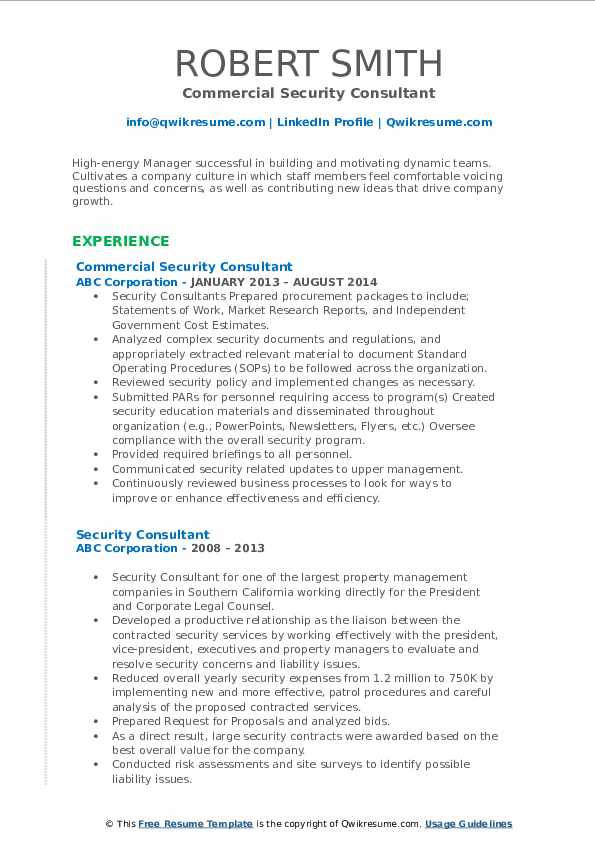 Commercial Security Consultant Resume Format