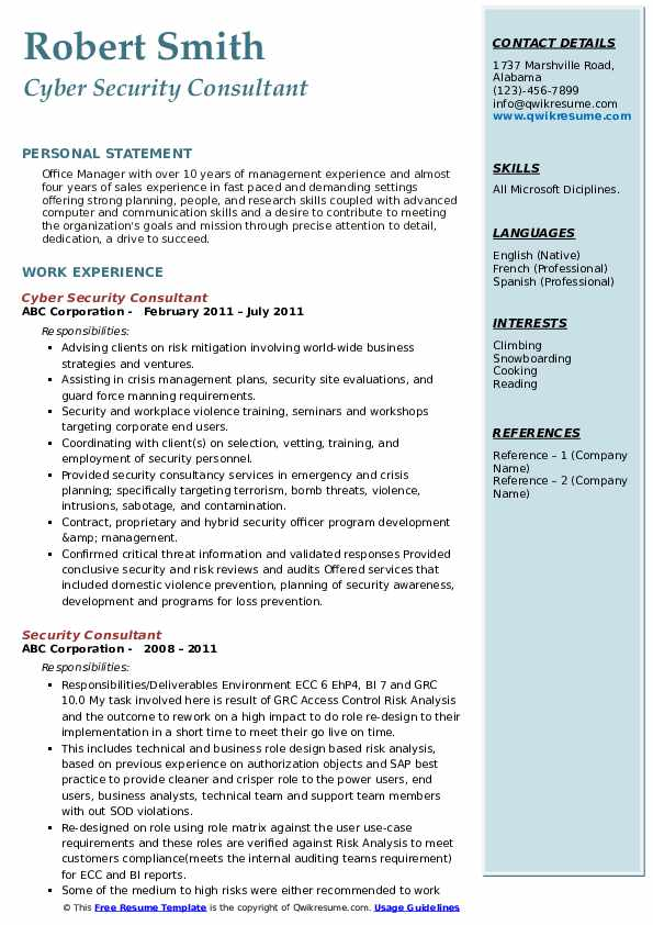 Cyber Security Consultant Resume Format