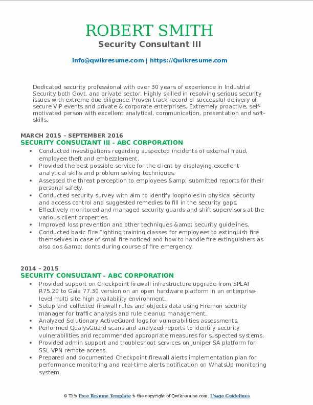 Security Consultant III Resume Format