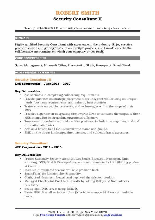 Security Consultant II Resume Template