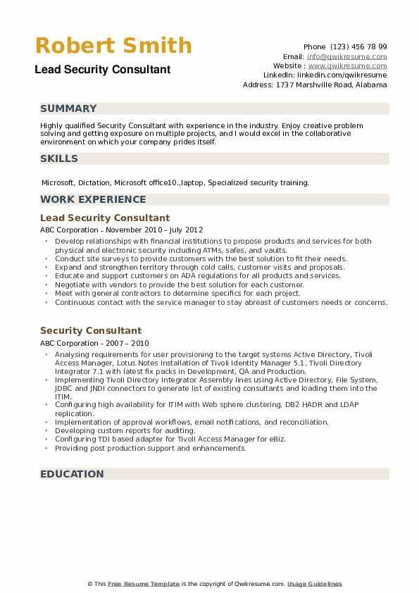 Lead Security Consultant Resume Format