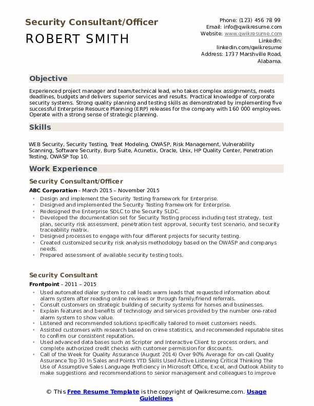 Security Consultant/Officer Resume Sample
