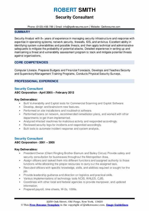 Security Consultant Resume example